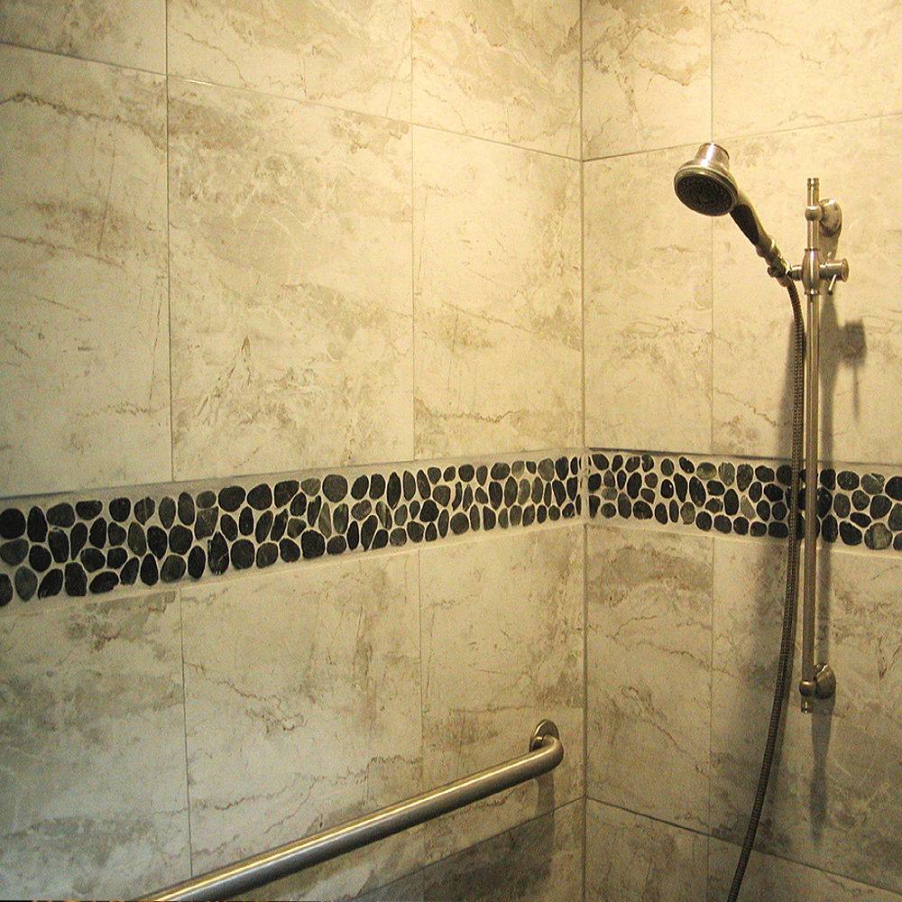 Sliced Charcoal Black Pebble Tile Shower Border