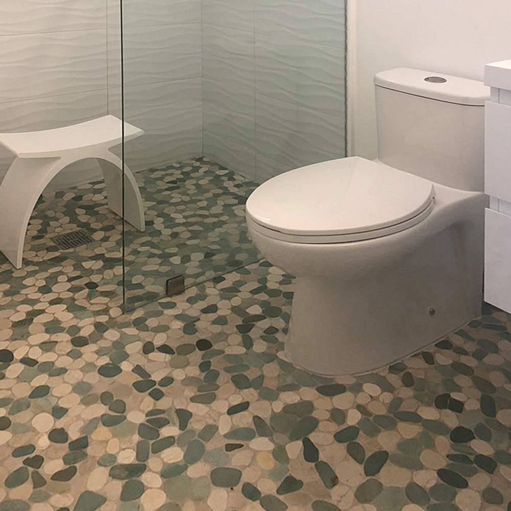 Sliced Green and White Pebble Tile Bathroom Floor