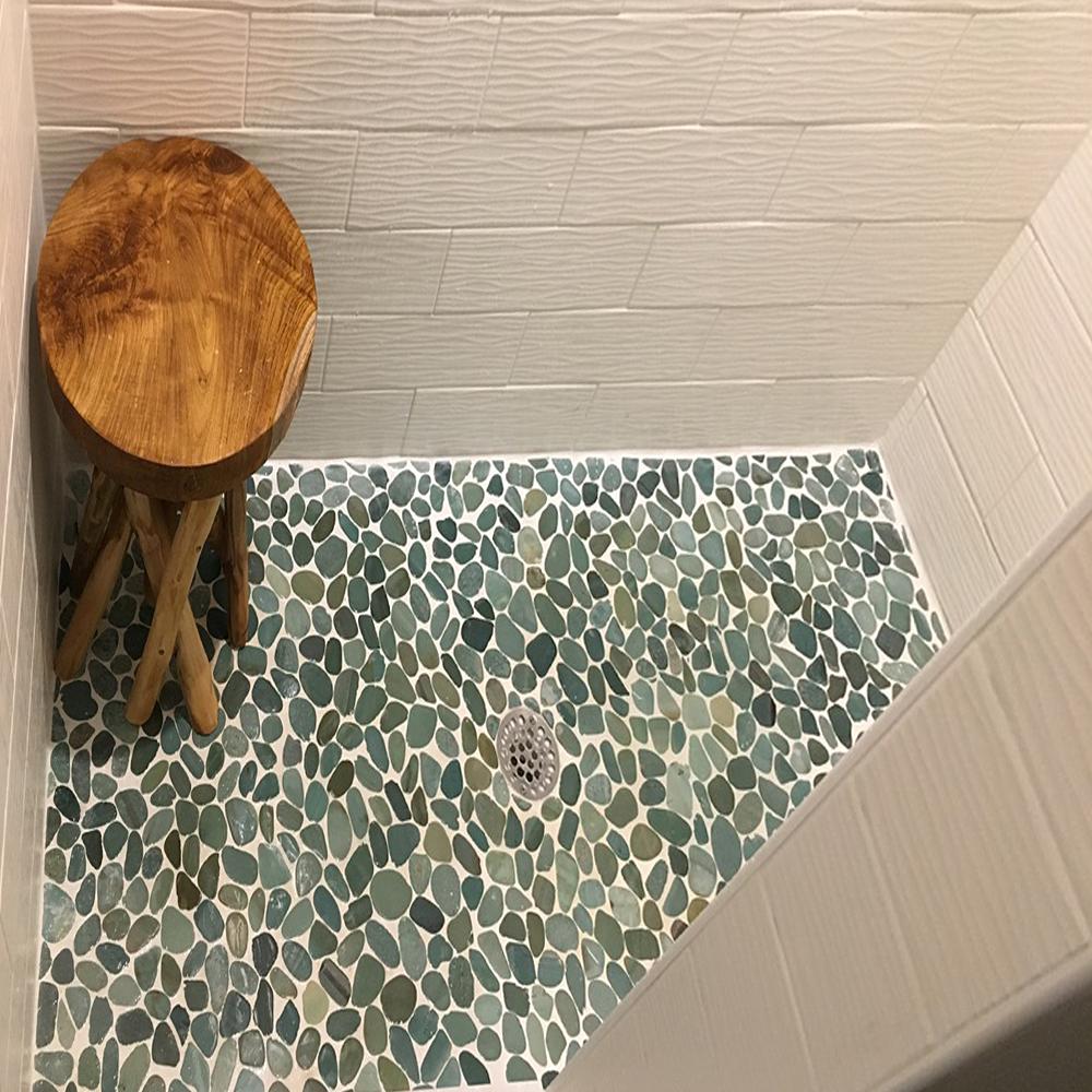 Sliced Sea Green Pebble Tile Shower Flooring