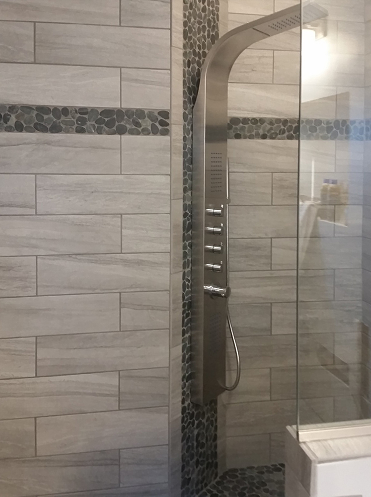 Sliced Charcoal Black Shower Floor and Accents