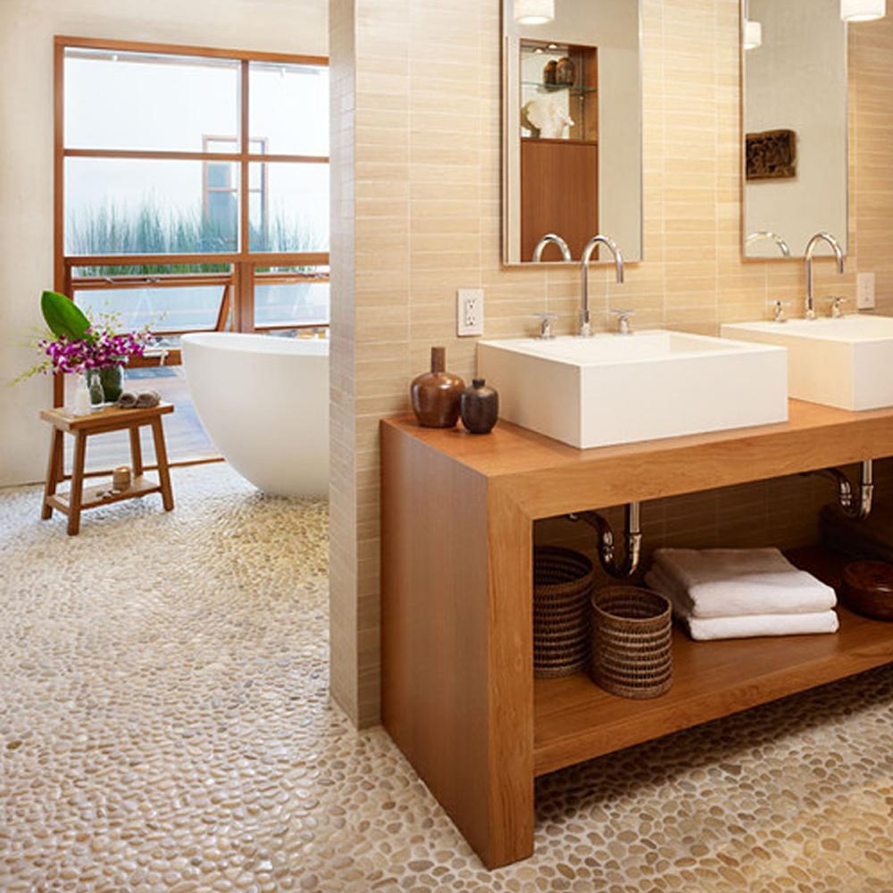 Tan Pebble Tile Tropical Bathroom Flooring