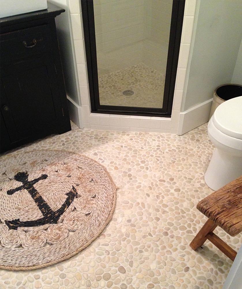 White Pebble Tile Bathroom and Shower Floor