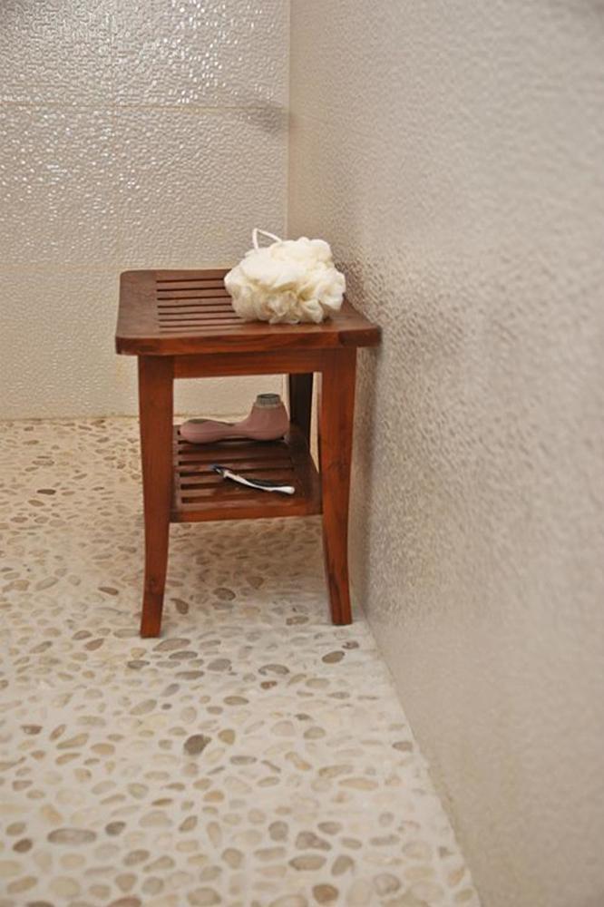 White Pebble Tile Bathroom Flooring