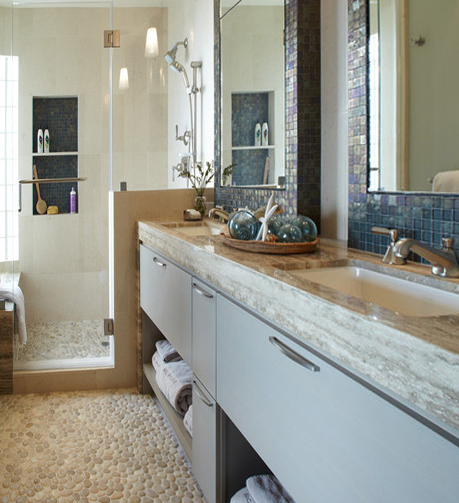White Pebble Tile Contemporary Bathroom Flooring