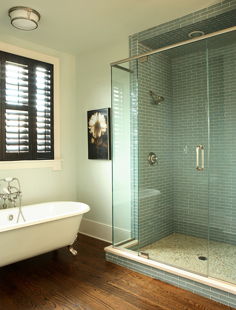 White Pebble Tile Shower Pan