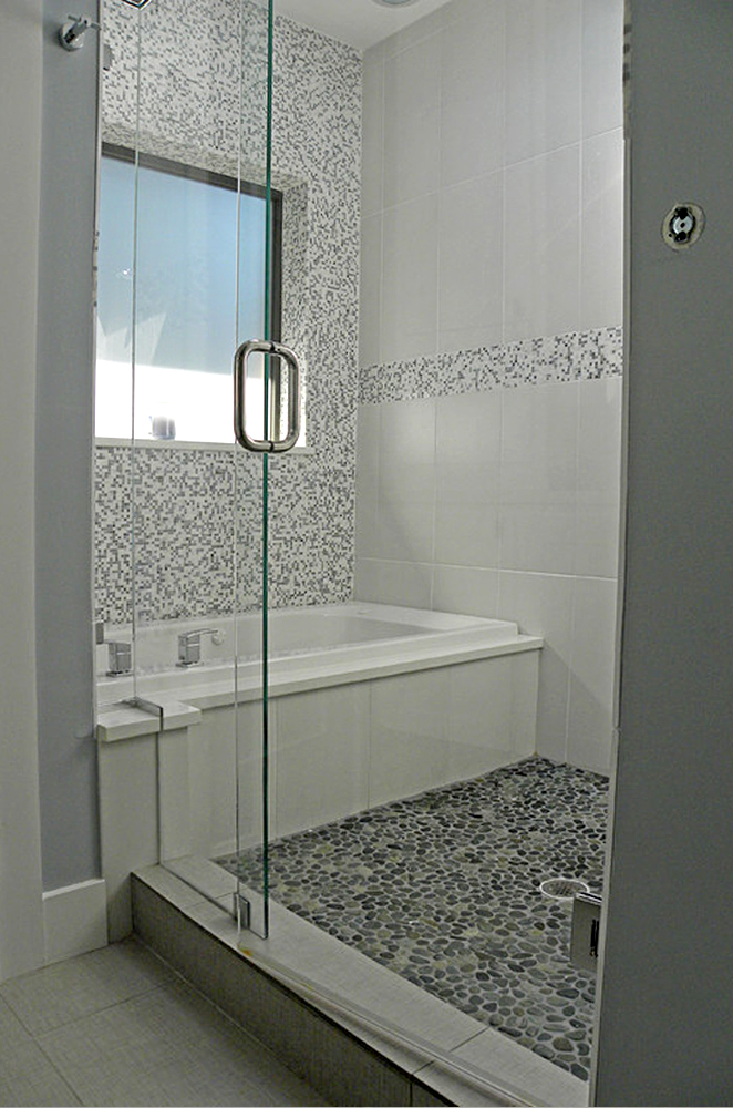 Spring Rain Pebble Tile Shower Pan