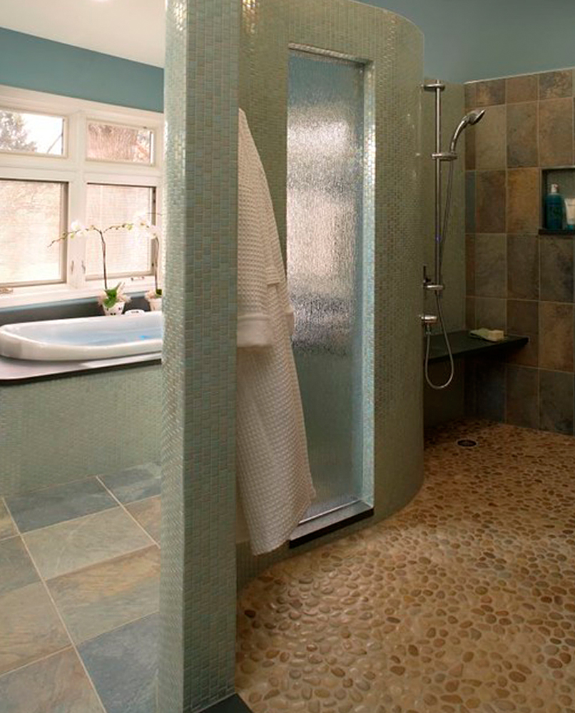 Tan Pebble Tile Shower Floor