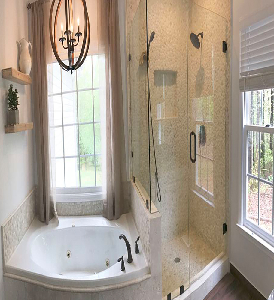 White Pebble Tile Shower and Bath Surround