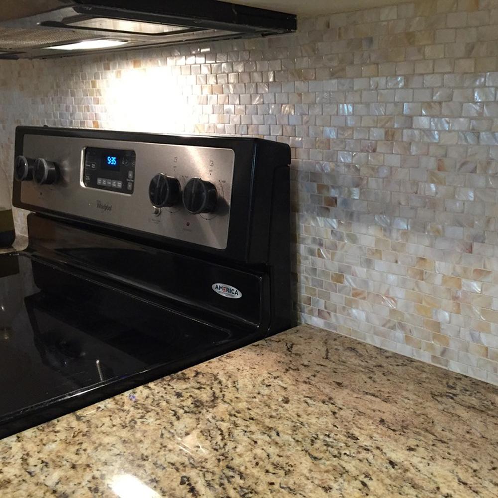 Cream Brick Pearl Shell Tile Kitchen Backsplash