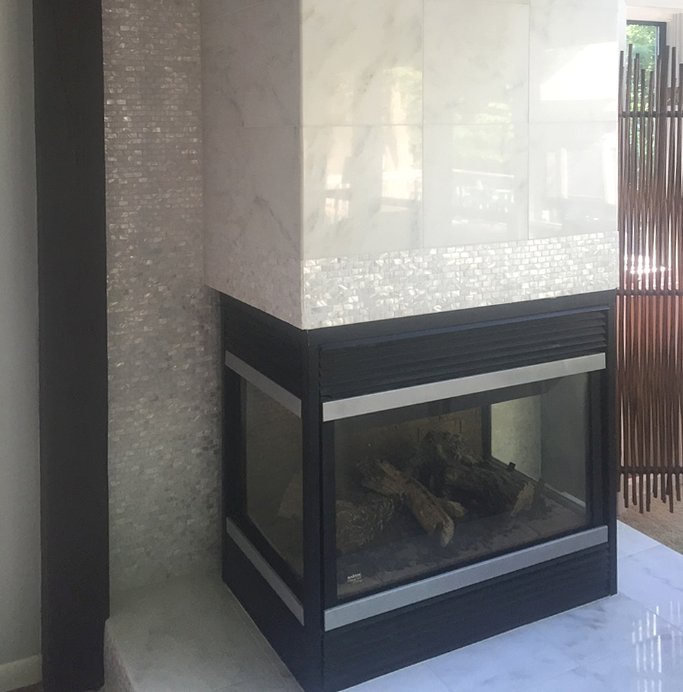 Mother of Pearl Tile Fireplace Surround