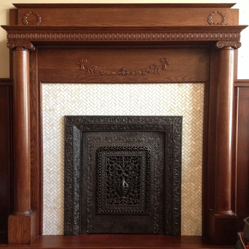 White Herringbone Pearl Shell Tile Fireplace Accent