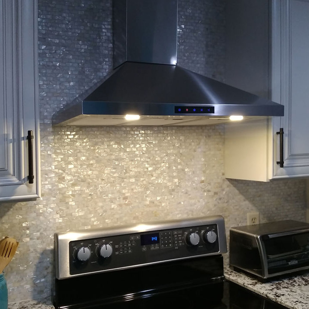 Cream Brick Pearl Shell Tile Stove Backsplash
