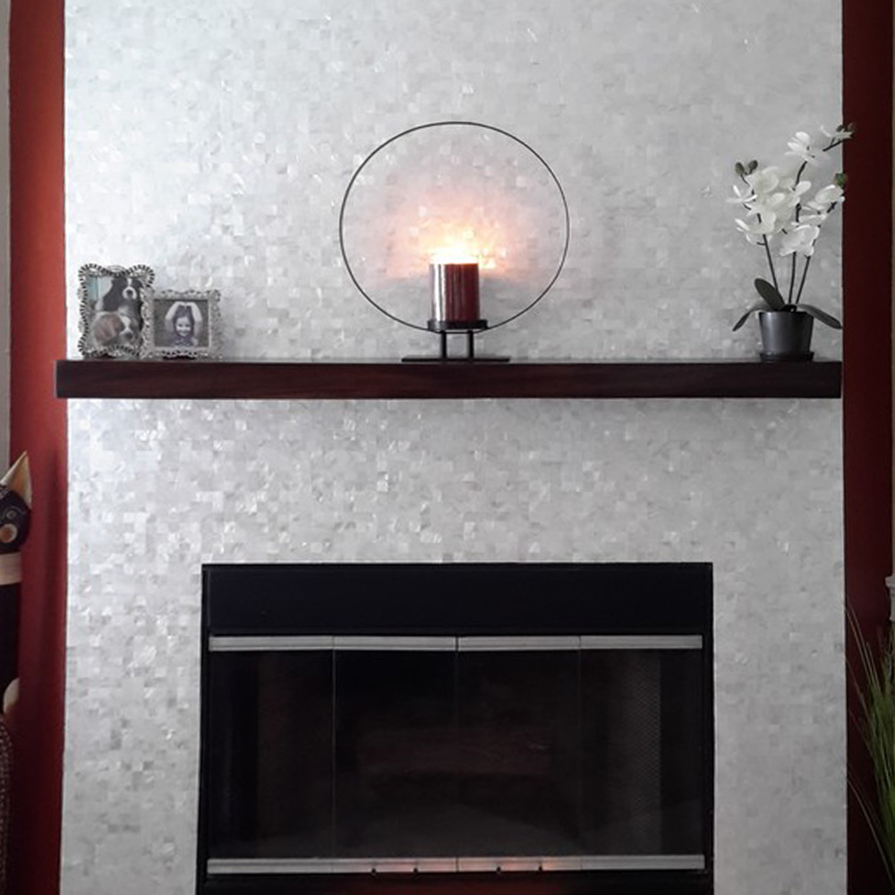 White Groutless Square Mother of Pearl Tile Fireplace Surround