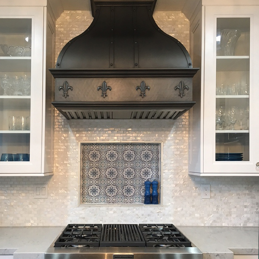 White Pearl Shell Tile Kitchen Feature Backsplash
