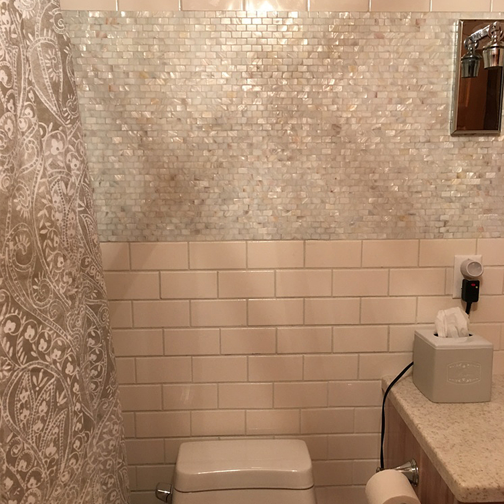 White Brick Pearl Shell Tile Bathroom Feature Wall