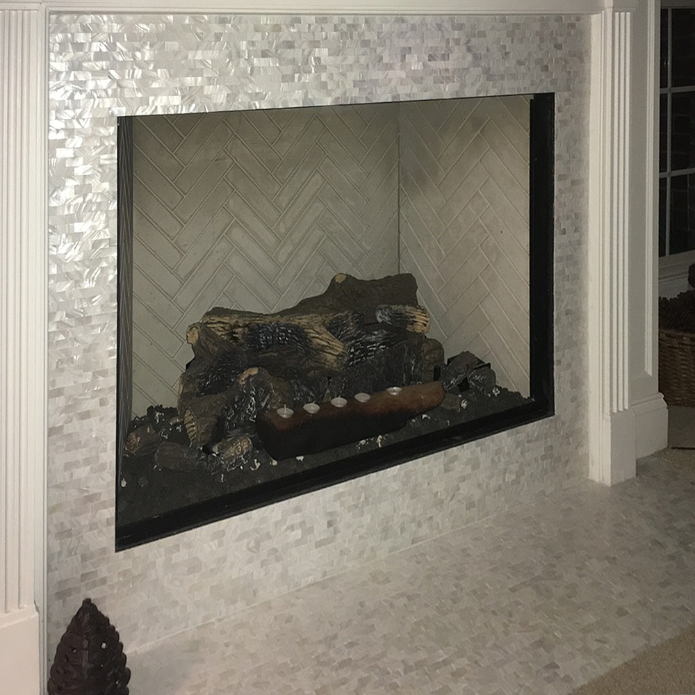 White Brick Groutless Pearl Shell Tile Fireplace Surround