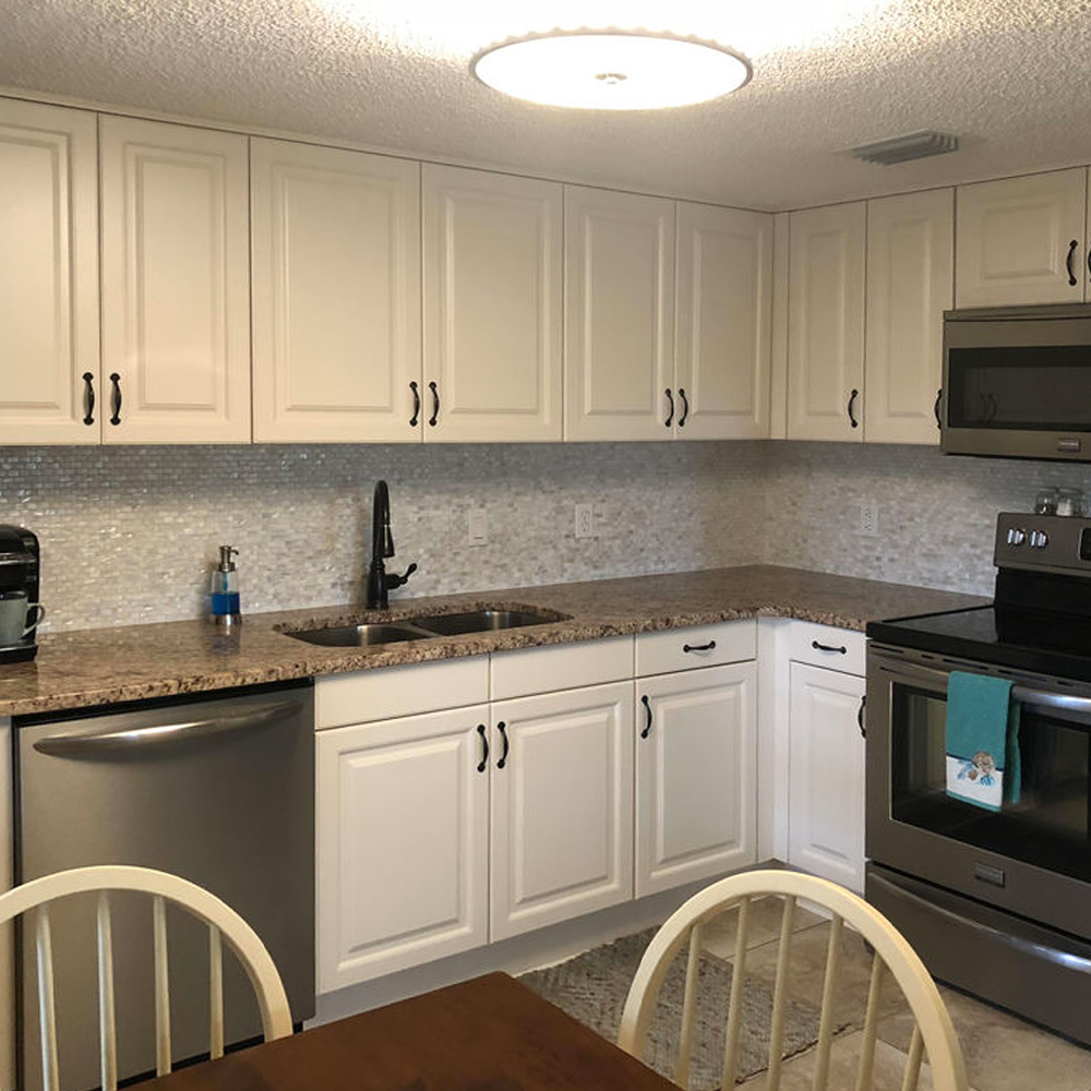White Brick Mother of Pearl Tile Backsplash