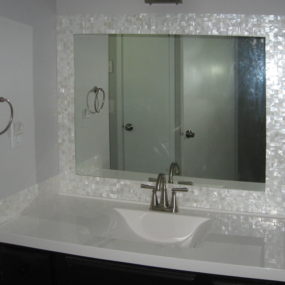 Groutless Mother of Pearl Tile Bathroom Vanity