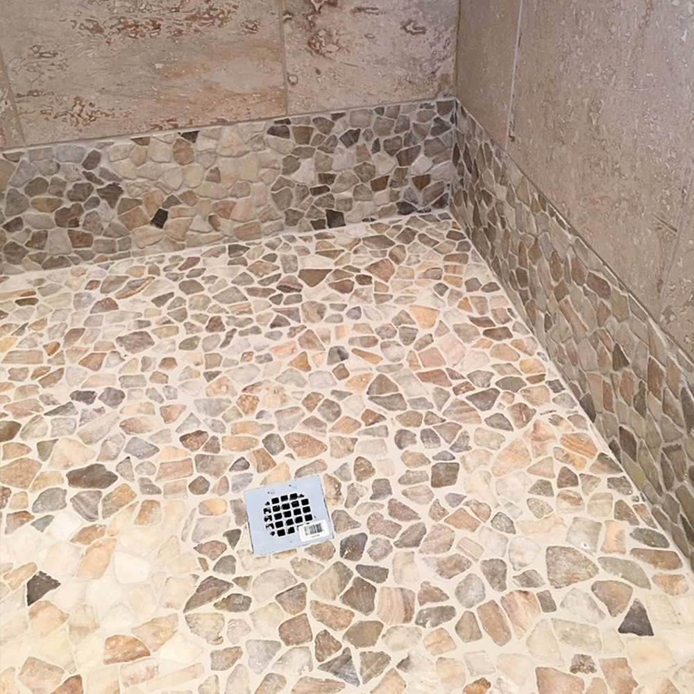 Quartz Mosaic Tile Shower Flooring and Wall Accent