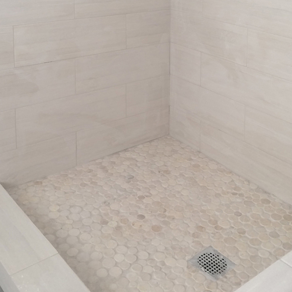 White Moon Stone Mosaic Tile Shower Pan