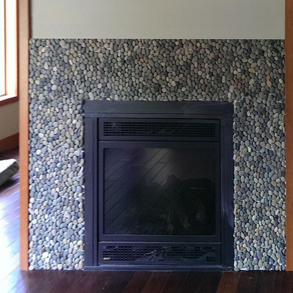 Bali Ocean Pebble Tile Fireplace Surround