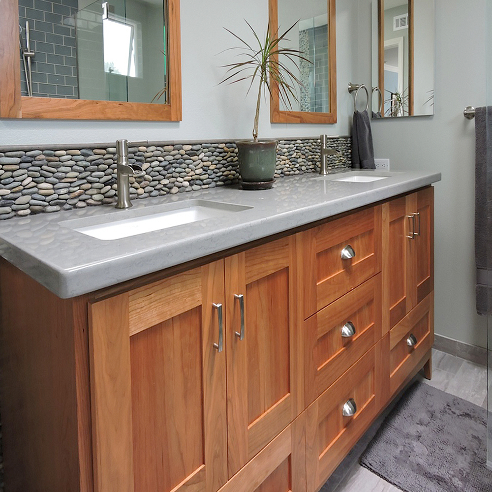 Standing Bali Ocean Pebble Tile Luxury Bathroom Vanity