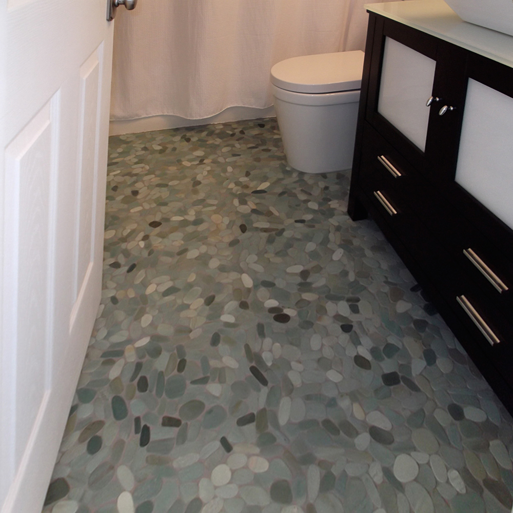 Sliced Sea Green Pebble Tile Bathroom Flooring