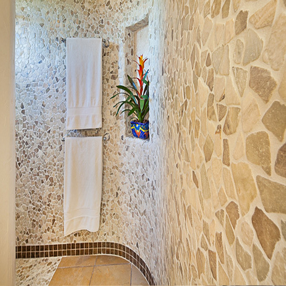 Mixed Quartz Pebble Tile Bathroom Walls