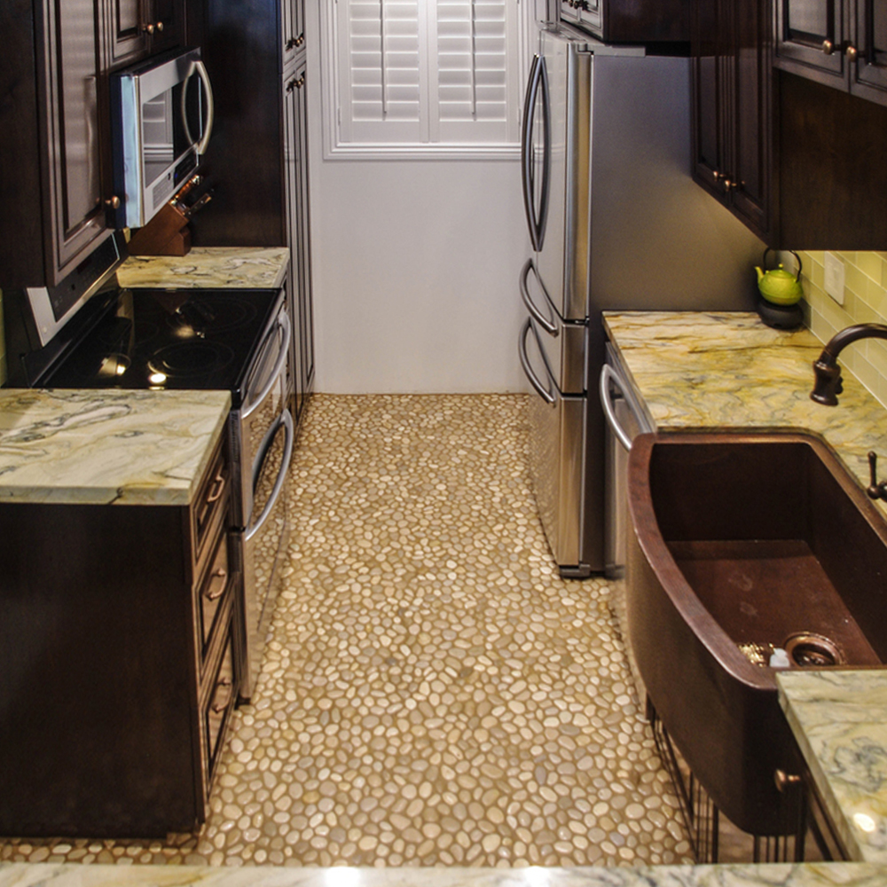 Glazed Java Tan Pebble Tile Kitchen Flooring