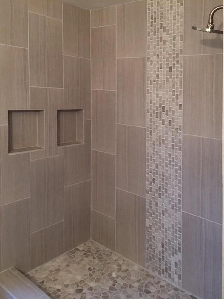 Mixed Quartz Mini Stone Subway Tile Shower