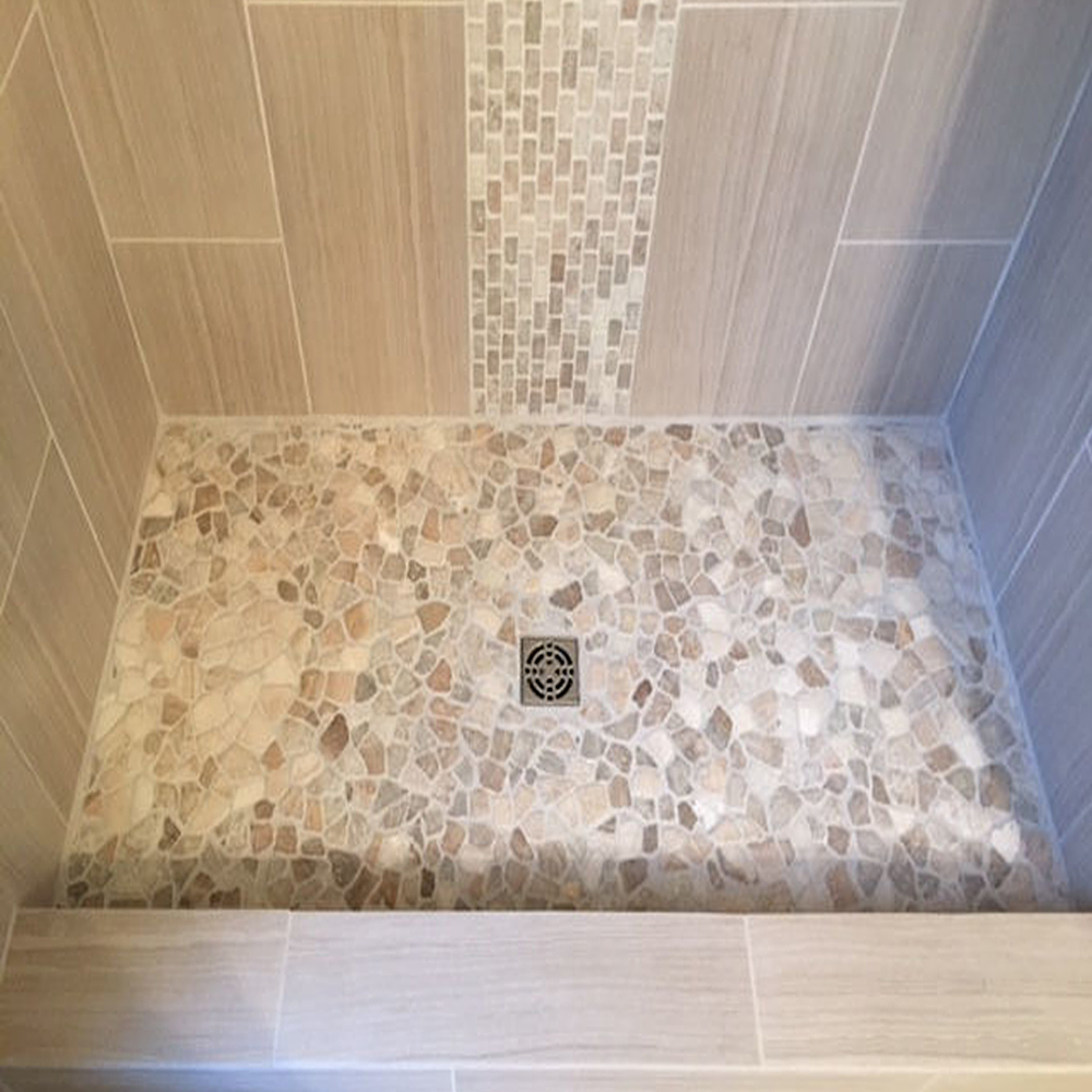 Mixed Quartz Shower Flooring With Quartz Accent
