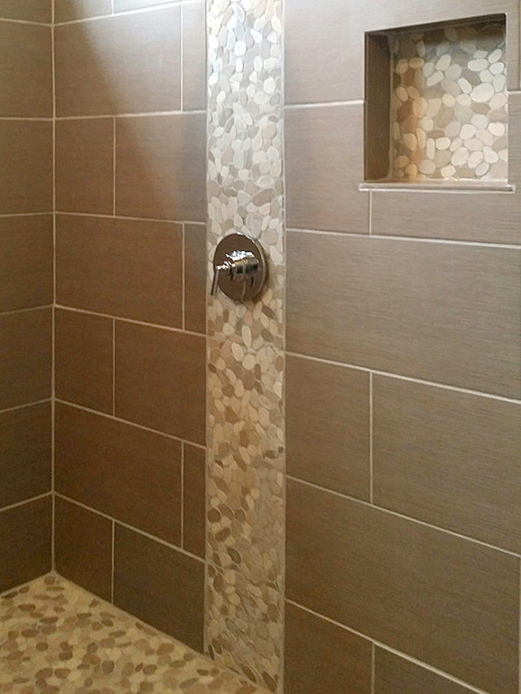 Sliced Java Tan & White Shower Accent & Niche