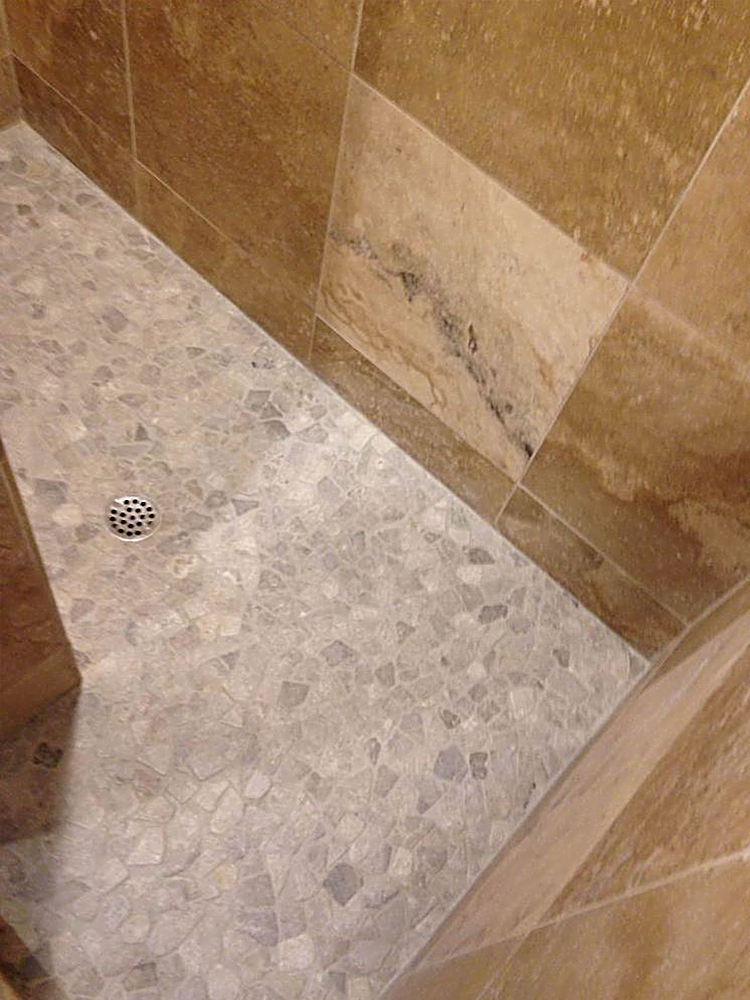 Stone Grey Mosaic Tile Shower Flooring