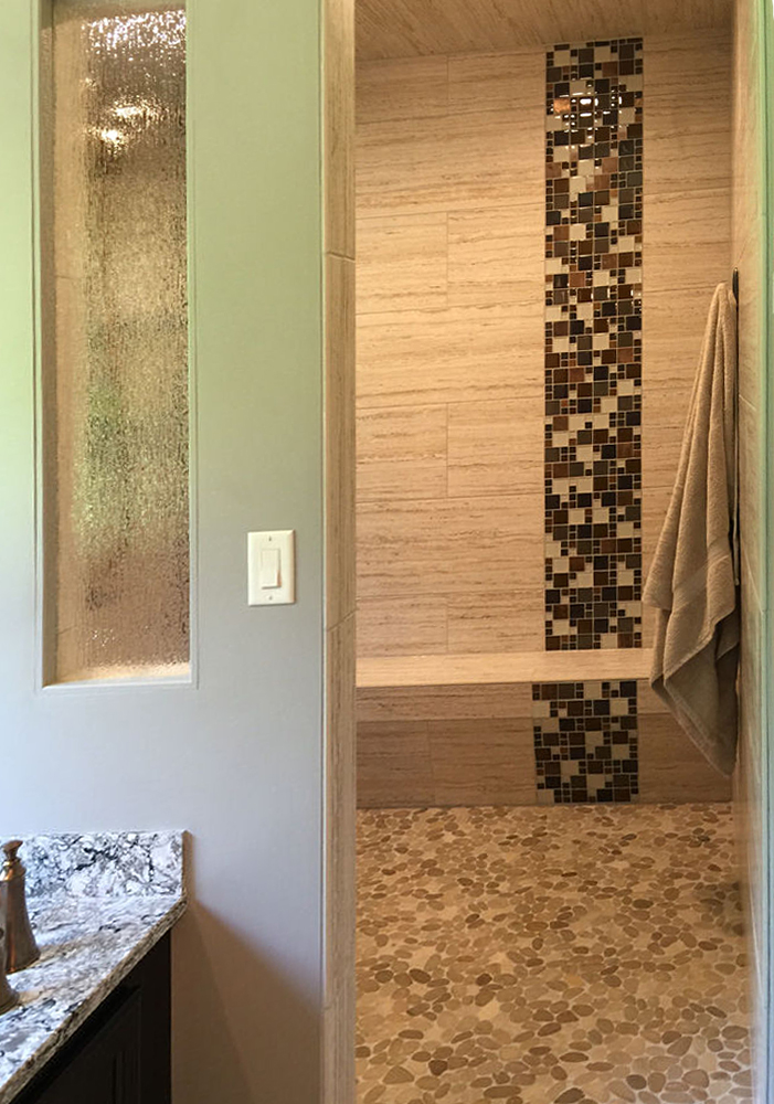 Sliced Java Tan & White Open Shower Floor