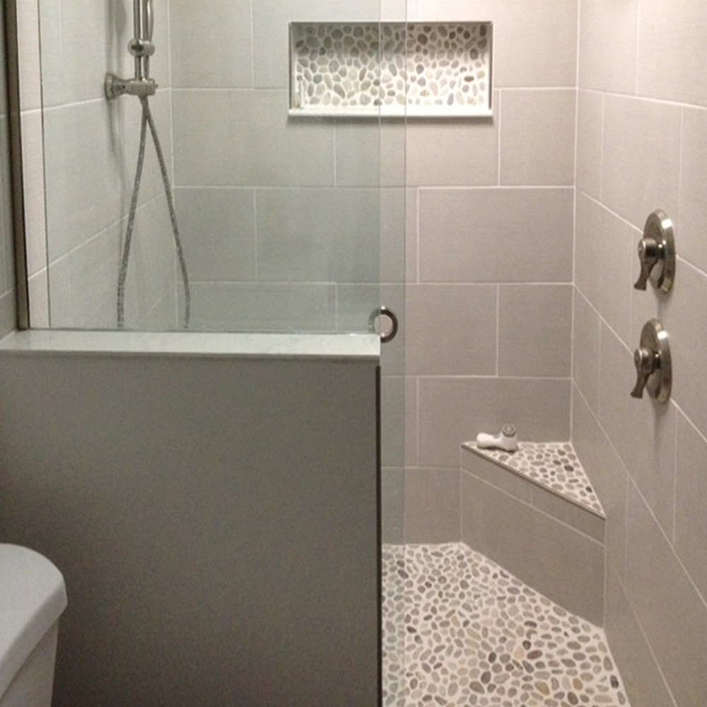 Bali Cloud Pebble Tile Shower Floor, Seat & Niche