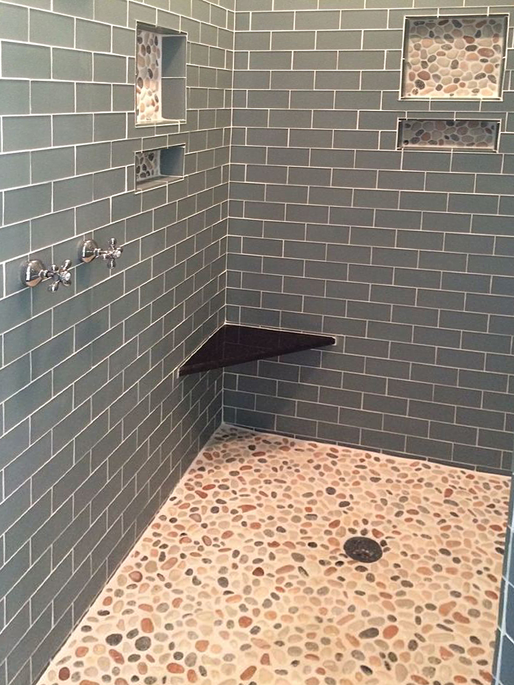 Mixed Island Pebble Tile Shower Floor and Accents