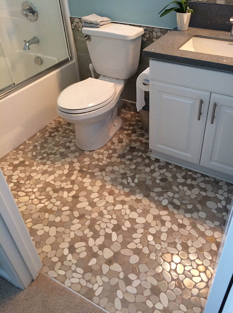 Sliced Java Tan and White Bathroom Flooring
