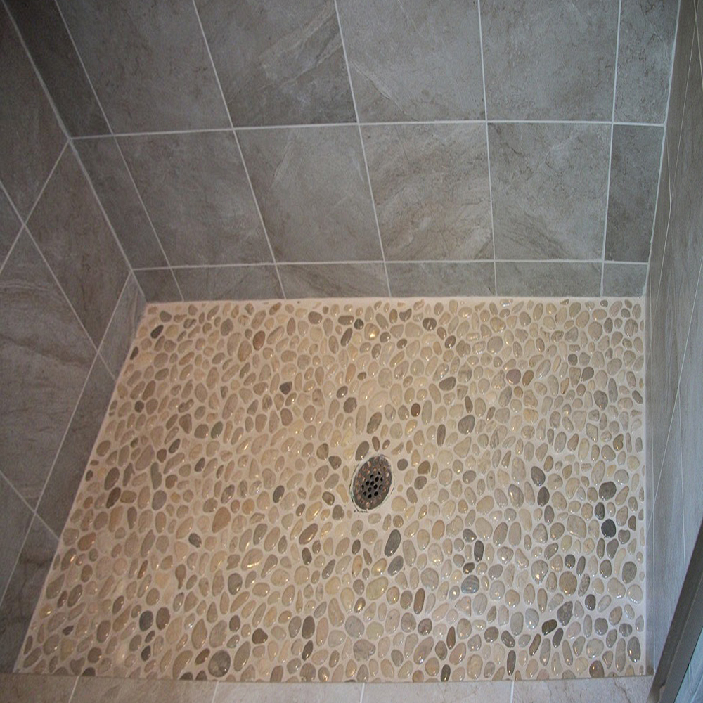 Glazed Bali Cloud Pebble Tile Shower Floor