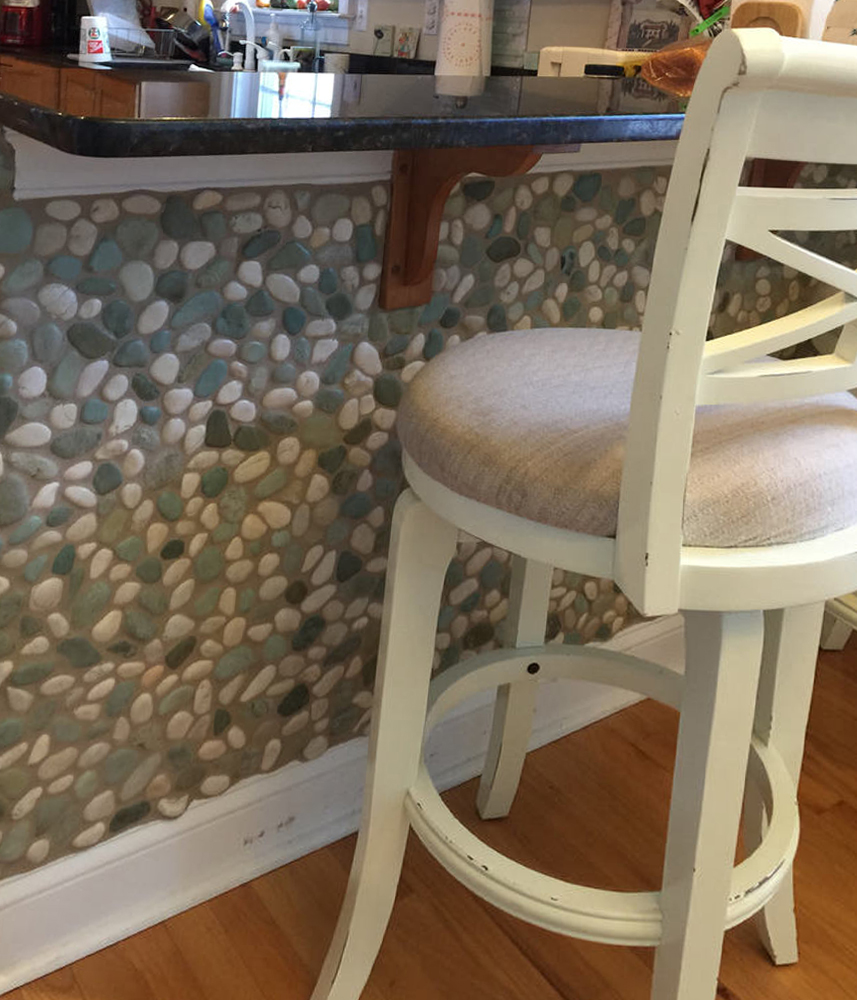 Sea Green and White Pebble Tile Breakfast Bar