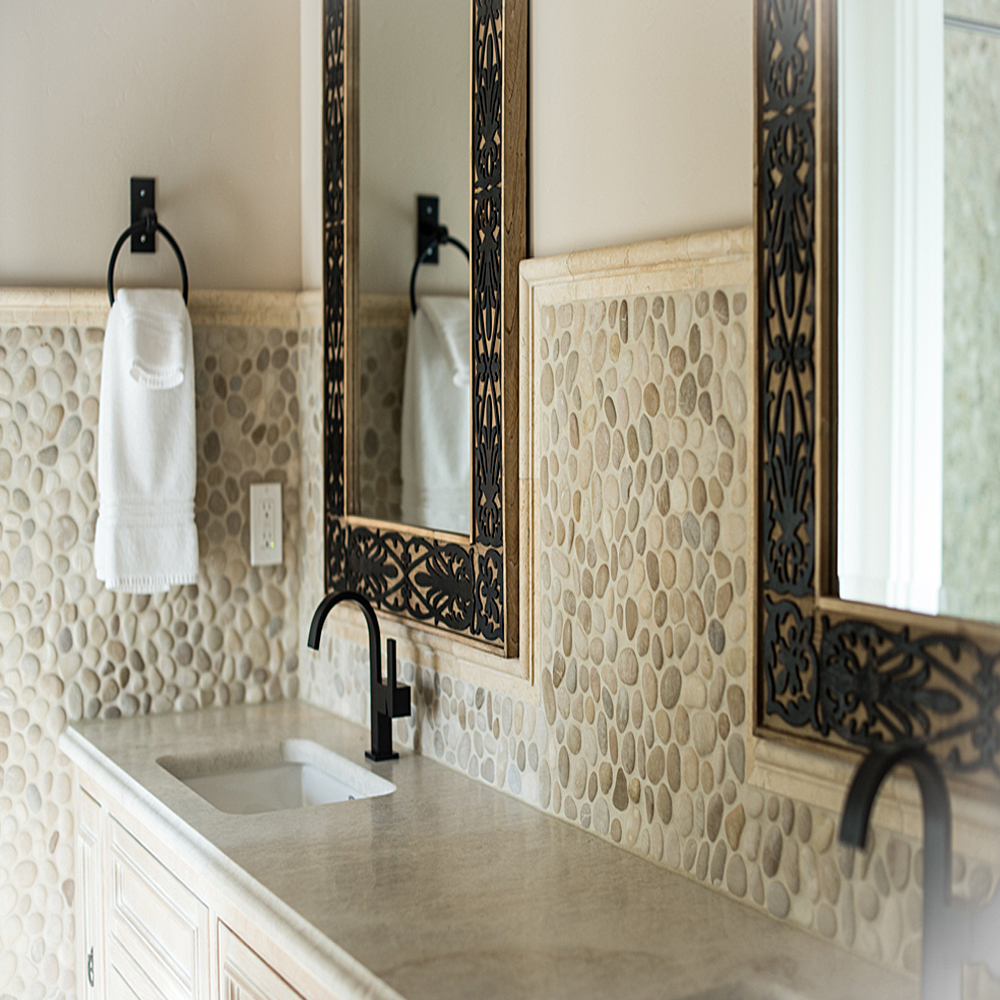Java Tan Pebble Tile High End Bathroom Backsplash and Walls