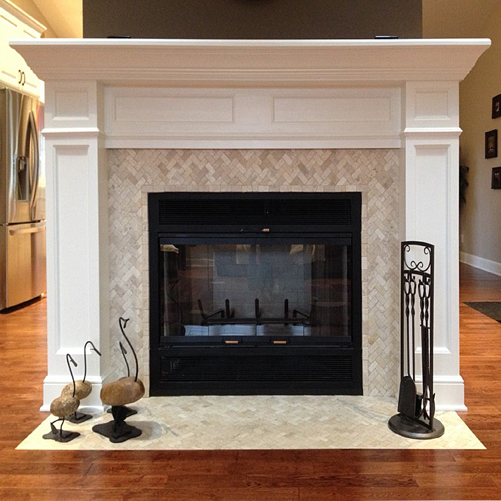 Cream Herringbone Stone Mosaic Fireplace Surround and Hearth