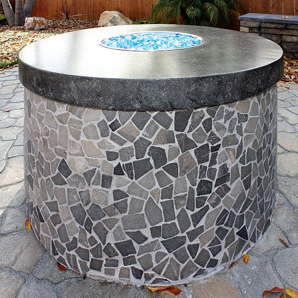Marble Grey Stone Mosaic Fire Pit