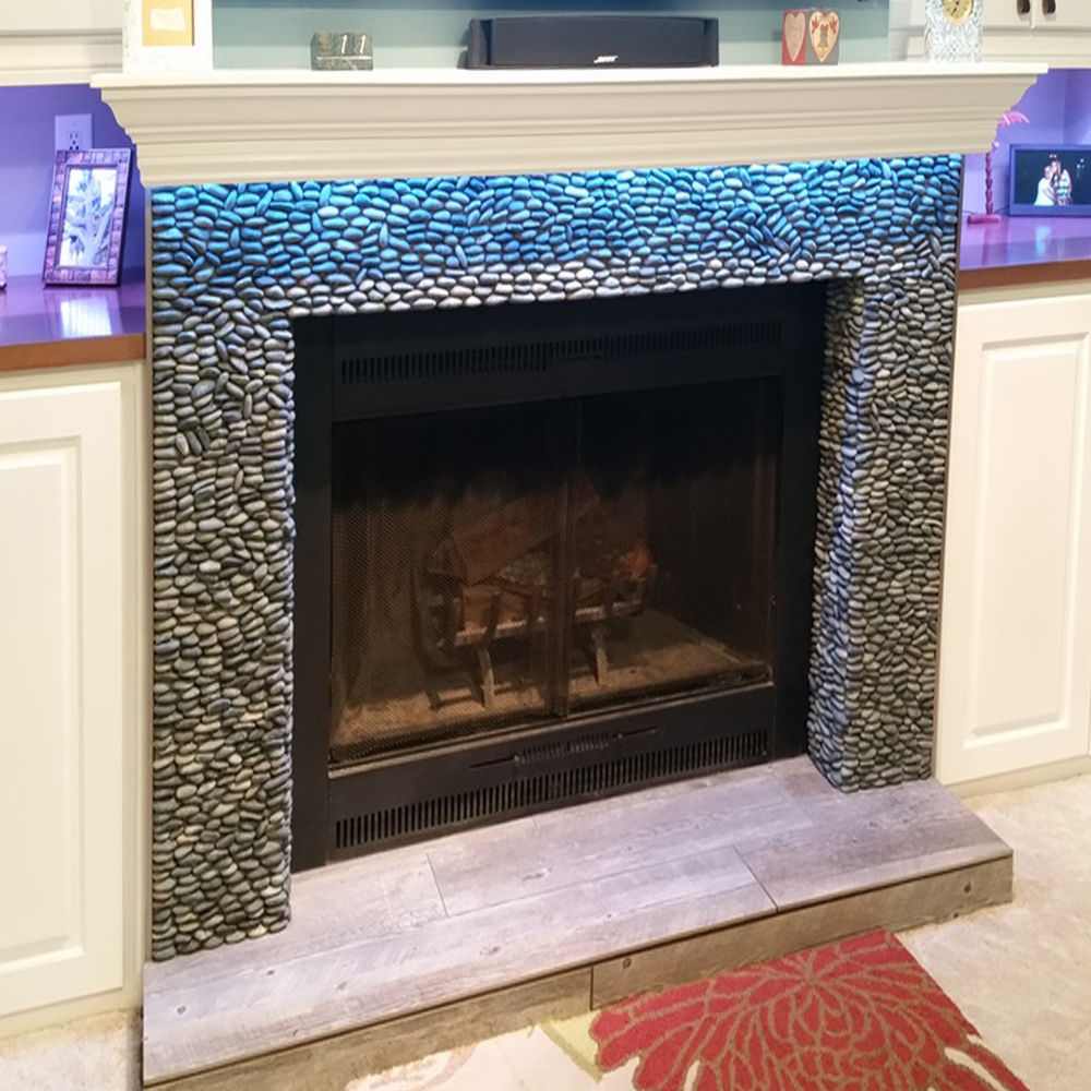 Charcoal Black Standing Pebble Tile Fireplace Surround