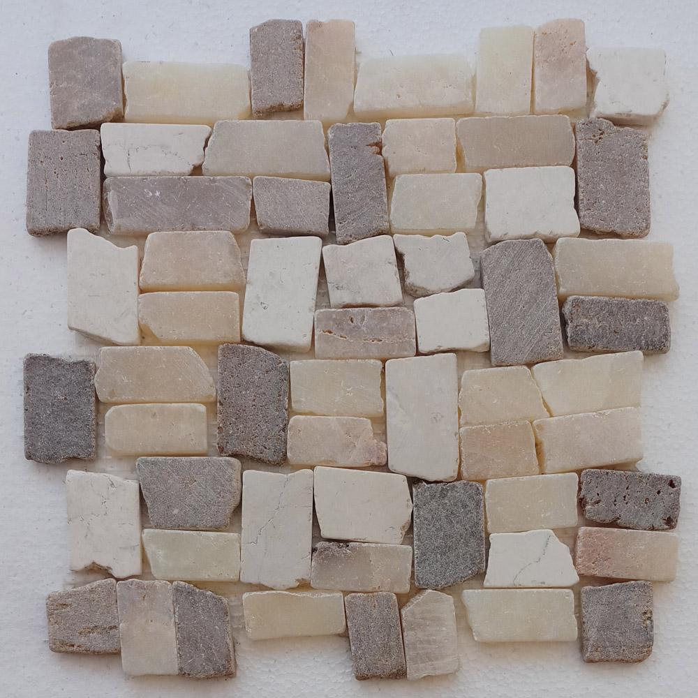 Mixed Ecru White Tan And White Quartz Blocks Mosaic Tile