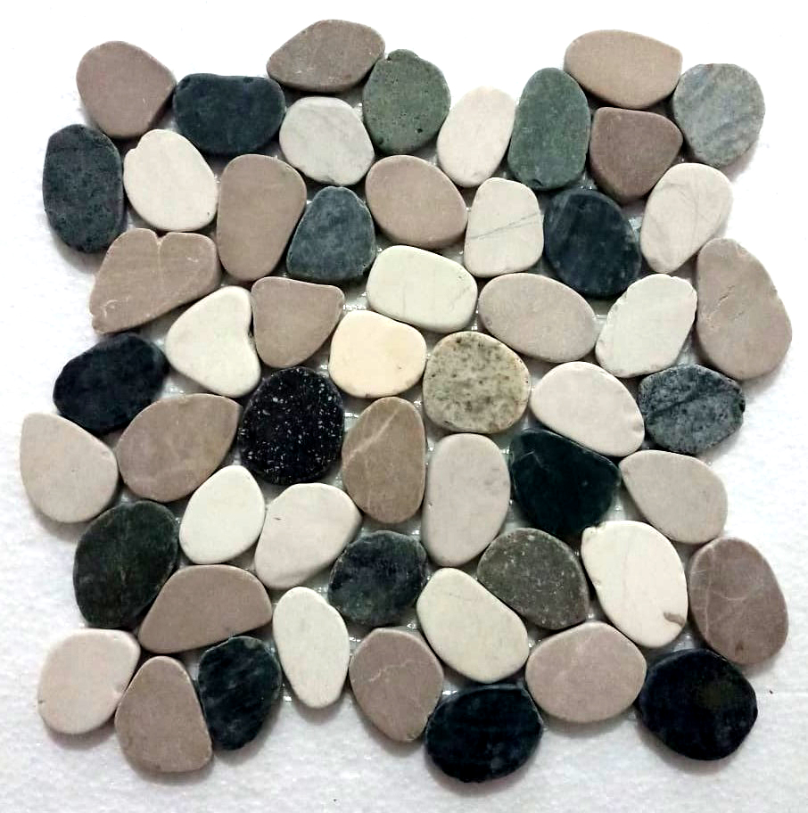 Sliced Mixed 4 Colours Pebble Tile