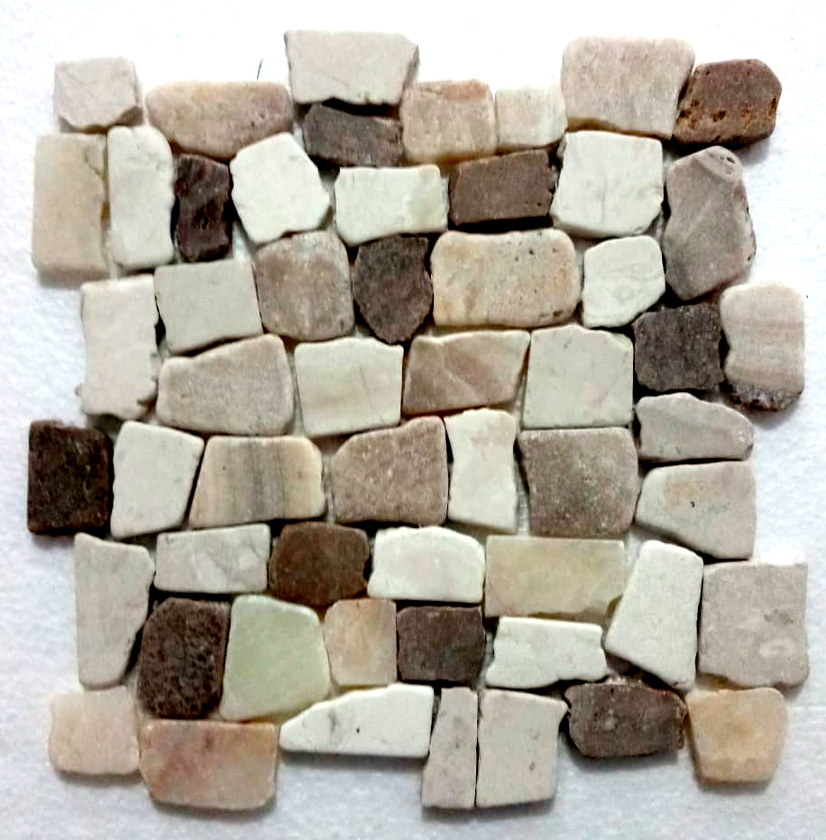 Mixed Ecru White Tan And White Quartz Blocks Mosaic Tile