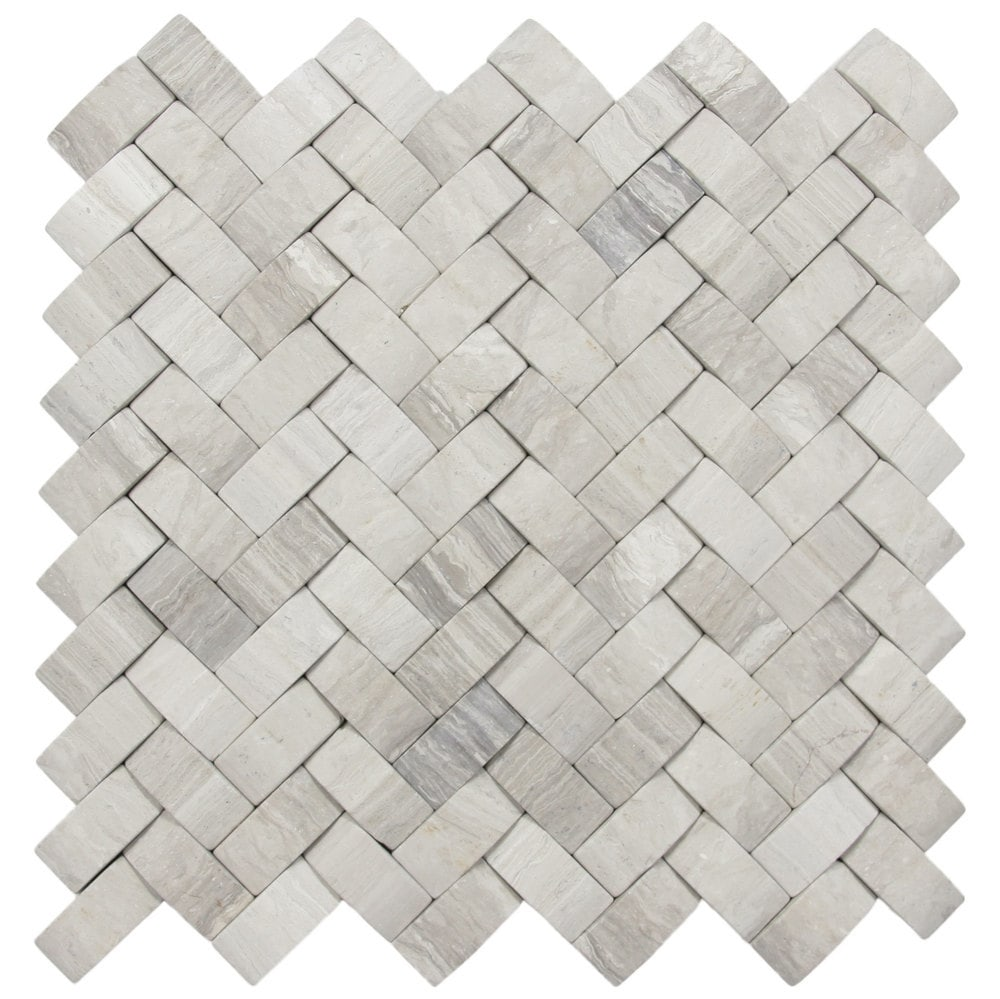 3d Light Grey Basket Weave Stone Tile