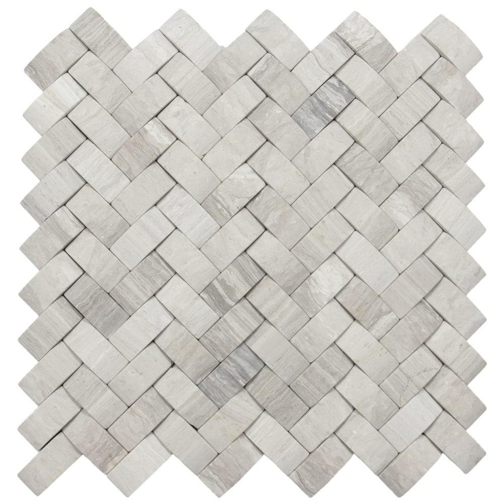 3d Light Grey Basket Weave Stone Tile