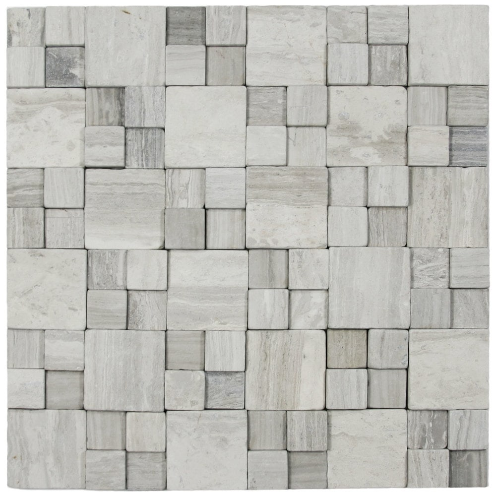 3d Light Grey Blocks Stone Tile