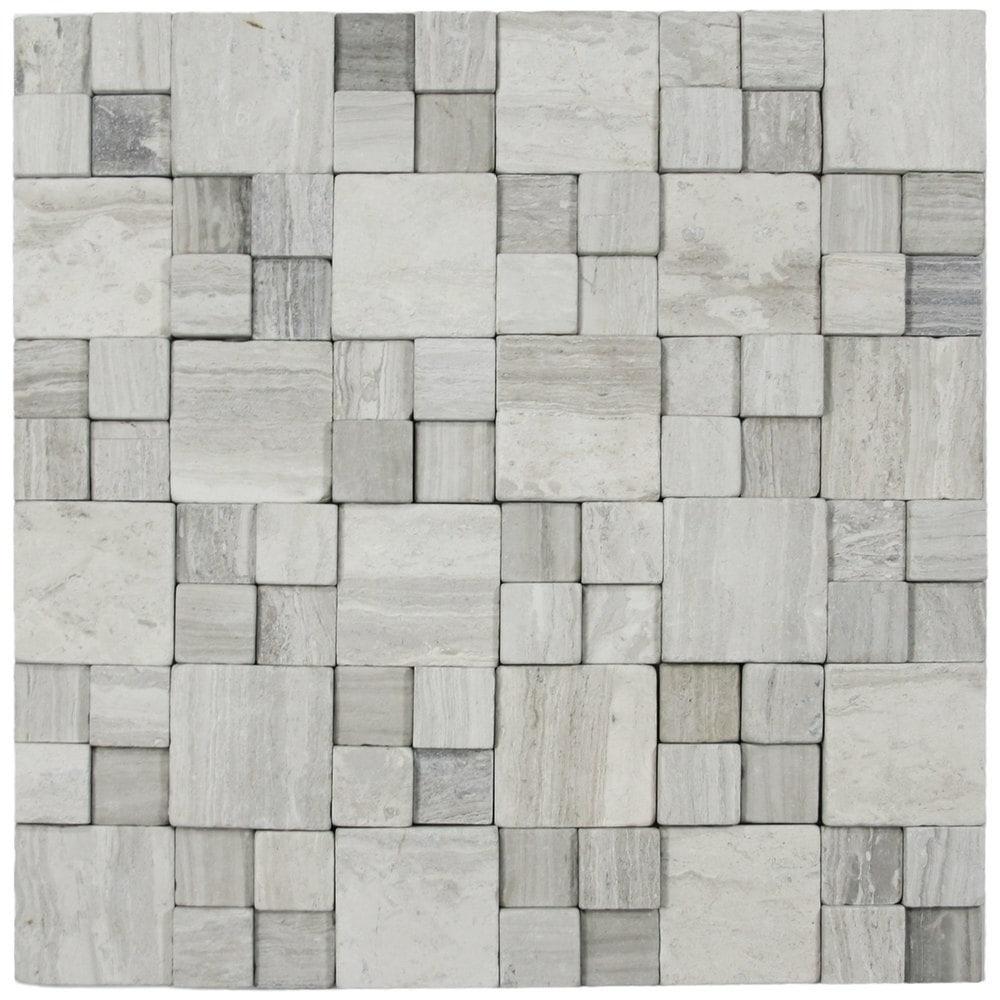 3d Light Grey Blocks Stone Tile